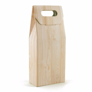 Caja de 2 botellas con asa - Wood